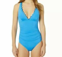 NWT Kate Spade New York Fort Tilden Scalloped Plunge One-Piece Blue Size XS