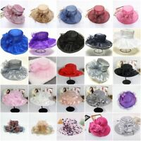 Wide Brim Kentucky Derby Sun Hat Women Wedding Tea Party Elegant Church Cap New