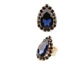 Gold Tone Navy Blue Rhinestone Teardrop Stretch Ring Fashion Jewelry