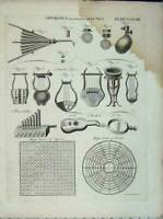Original Old Antique Print Encyclopaedia Britannica Apparatus Lungs Medicine