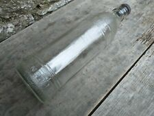 More details for vintage large clear glass bottle with screw in bung - hoyle & bishop rawtenstall