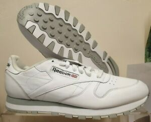 Reebok Mens Trainers Classic White Leather Fitness Gym UK 9 Eur 43 NEW