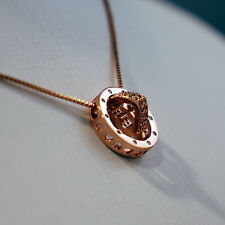 Sterling Silver 925 Rose Gold Plated Circle With Heart Pendant on Necklace Chain
