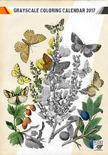 """Coloring Calendar 2017 (12 pages 8""""x11"""") Butterfly and Flower Vintage FLONZ 1003"""