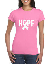 Hope Pink Ribbon Ladies T-Shirt, Breast Cancer Awareness Pink Gift Adults Top