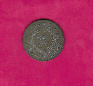 TUNISIA KM247 1941 FRANC F FINE NICE VINTAGE WWII FRENCH TERRITORY COIN