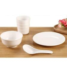 Melamine Dinner Dishes Set Kitchen Dinnerware Plates Bowls Assorted White #1