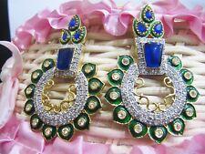 Diamond Gemstone Stud Earrings Jewelry Fabulous Ink Blue Chalcedony & American