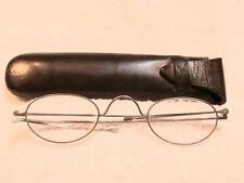 1880's ENGLISH STEEL READING GLASSES WITH ARTICULATED TEMPLES IN LEATHER CASE!