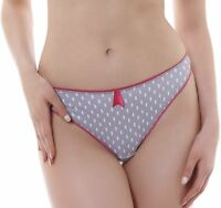 Details about  /Freya Patsy Thong Black Beige Spot Size M 12 14 Frill Sheer Mesh Knickers 1227