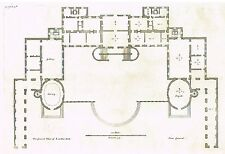 """Vitruvius Britannicus - """"PLAN OF LOWTHER HALL"""" Copper Engraving - 1717"""