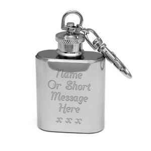 Personalised Engraved Mini Hip Flask 1oz Key Ring Drinkers Gift Outdoors