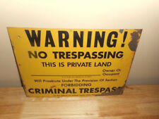 Old Sign Used - Warning No Trespassing - This is Private Land - Vintage