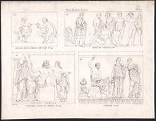 1830 Gravure Louvre Combats de coqs Jupiter Junon Thétis Mythologie