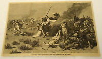 1881 magazine engraving ~ SLAUGHTER OF FRENCH CULTIVATORS by BOU AMEMA, Africa