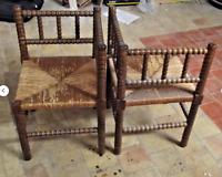 1 Ancien Fauteuil d'Angle Bois Paille Vintage Ameublement Deco Interior 1970