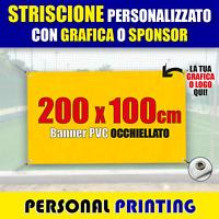 STRISCIONE PUBBLICITARIO PERSONALIZZATO 2x1 m striscioni BANNER PVC economico
