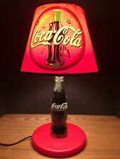"""1998 Coca Cola Company Brand Product Lamp With Shade 16 1/2"""" Tall"""