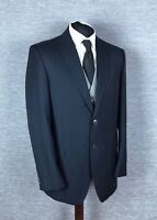 Marks and Spencer Mens Wool Blazer Size 42L Navy Stripe Lined