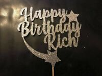 Custom Cup Cake Topper Glitter Birthday Any Name personalised Silver Glitter