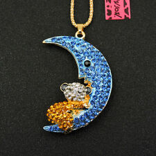 Pendant Betsey Johnson Chain Necklace New Blue Bling Rhinestone Moon Bear