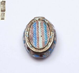 1930's Chinese Solid Silver Enamel Pill Box Marked 足紋