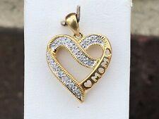 "10K YELLOW GOLD DIAMOND ""MOM"" HEART PENDANT"