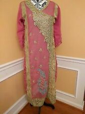 Pink with gold embroidery georgette stitched salwar suit