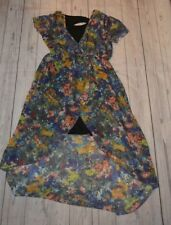 Disney D Signed Large Girls Dress Short Sleeve Blue Pink Orange Floral Bow Back