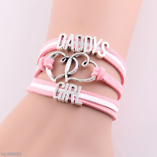 Infinity love heart daddys girl bracelet rope charm bracelets for women jewelry#
