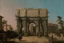 View of the Arch of Constantine with the Colosseum Canal Italy Rome B a3 02081
