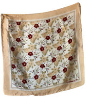 """20"""" Cacharel Vintage Silk Scarf French Floral Red Green Chic Feminine"""