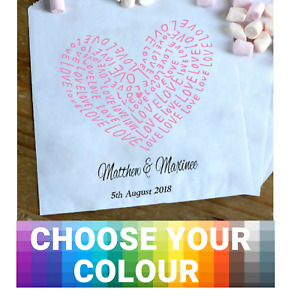 Personalised Wedding Sweet / Sweetie - Candy Cart Favour Bags - Love Word Hearts