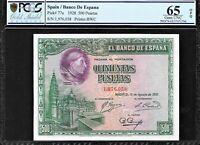 SPAIN 1928 500 PESETAS P-77A  ☆ PCGS GEM-(65) GOLD SHIELD OPG ☆ MAGNIFIFENT ☆