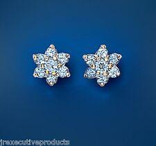 Blue Topaz earrings Blue Topaz Cluster Studs Yellow Gold Blue Topaz Earrings