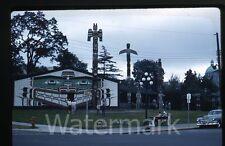 1961 Kodachrome Photo slide  Victoria BC Canada car Totem Poles