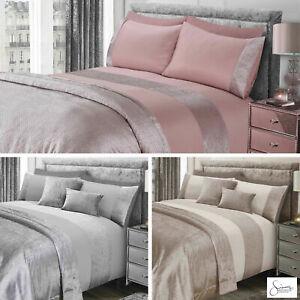 Sienna Glitter Sparkle Velvet Duvet Cover & Pillowcase Bed Set Silver Champagne
