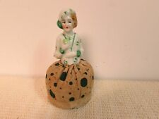 VINTAGE ART DECO HALF DOLL PIN CUSHION GREEN DESIGNS ON DRESS & HAT JAPAN