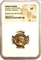 Roman Emperor Aurelian Coin NGC Certified XF, With Story,Certificate