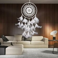 White Large Size Handmade Dream Catcher With Feathers Wall Hanging Ornament