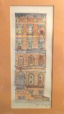 Original Pen Watercolor Painting Brownstone W 74th NYC New York John Suchy 1984