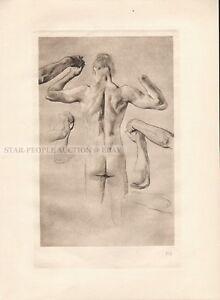 MAX KLINGER - BRAHMS FANTASY FEAST * nude limited copperplate photogravure 1915