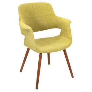 LumiSource Vintage Flair Chair, Walnut, Green - CHR-JY-VFLGN