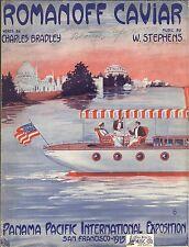 Romanoff Caviar One Step Sheet Music Bradly & Stephens 1915 Panama Pacific Expo