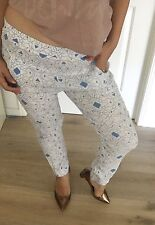 SEED WOMENS PANTS VISCOSE PRINTED BLUE WHITE SUMMER BEACH COMFORT SZ 10