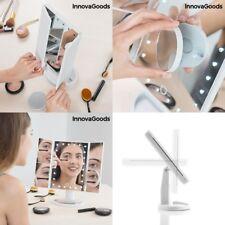 Espejo de maquillaje de aumento 24 Luces LED, reclinable 360º, espejo adicional