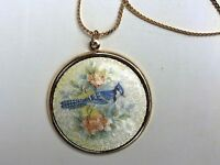 #B11 Vintage Sarah Coventry Guilloche Necklace Blue jay Bird Rose Flower Gold