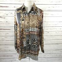 Chico's Size 2 Long Sleeve Blouse Brown/Beige Black  Floral