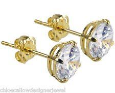 1x Pair of 9ct Yellow Gold 6mm CZ Gem Set Ear Studs Earrings + gift bag