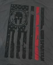 Reebok Crossfit Spartan Race Sprint Gray Flag Shirt Small